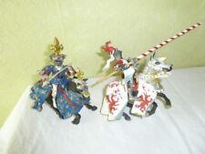 Figurine Chevalier Cavalier et Cheval PLASTOY Lot de 2