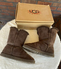 Chocolate Brown Bailey Button Ugg Boots Size 7 Uggs Short Slip On Booties EUC