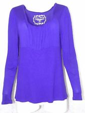 Allison Brittney womens XL Purple Long Sleeve Top Square Neckline Stretchy