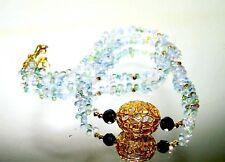 14k Gold Multi Hued White Sapphire Briolette Slice Cut Diamond Gemstone Necklace