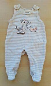 Baby Strampler Gr. 62 beige / weiß