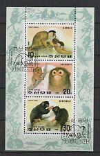 1992 Corée feuillet 3 timbres oblitérés singe /B5co3