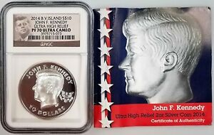 2014 British Virgin Islands $10 JFK, Ultra High Relief PF 70 Ultra Cameo by NGC!