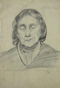 Paula Wimmer 1876-1971 Dachau / Zeichnung Bildnis einer Schlafenden Totenbildnis