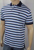 Ralph Lauren Navy Blue White Stripe Interlock Polo Shirt Navy Pony NWT