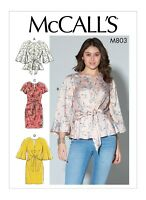 M7803 Sewing Pattern Easy Loose-fitting pullover tops sleeve var McCall's 7803