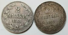 Russia / Finland 2 Markkaa 1865  & 1908, 2 Pcs lot. Silver coins! #202