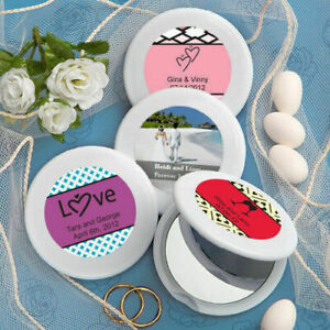 35-144 Personalized White Mirror Compact - Wedding Shower Party Favors
