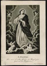 santino incisione 1800 MARIA IMMACOLATA
