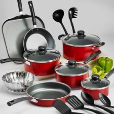 Cookware Set 18 Piece Pots Pans Non Stick Cooking Aluminum Professional Kit Red