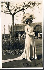 PRIVATE RP POSTCARD THEATRICAL LADY WITH HUGE HAT EFFIE C1920'S