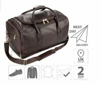 Leather Holdall Duffel Sport Travel Overnight Weekend Bag Brown FI6708