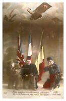 Antique military WW1 RPPC postcard portraits of French English & Belgium Soldier