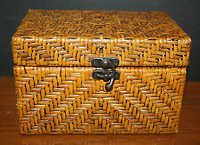 VTG Woven Wicker Wooden Box Trinket Box Jewelry Box Sewing Box