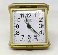 VTG Tozaj Folding Travel Wind Up Alarm Clock Brown Leather Case Japan Works TT20