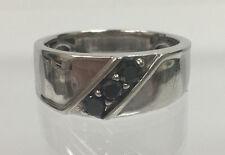 14K White Gold & Black Diamond Mens Ring, Size 8.25-8.50 1/3ct .33ct