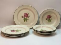 Eggshell Nautilus Homer Laughlin Pink Calirose Dinner Plates (6) Bowls (4)