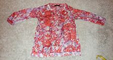 Womens XS The Limited Pink Purple Gray Floral Transparent 3/4 Sleeve Blouse