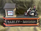 L@@K! HARLEY DAVIDSON MOTORCYCLE FRANKLIN MINT CAST IRON MECHANICAL BANK WORKS!