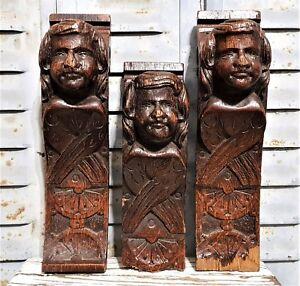 Three gothic angel corbel bracket Antique french wooden architectural salvage