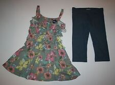 New NEXT UK Floral Ruffle Tunic Top & Blue Capri Leggings 2 Pc Set 8 Year 128cm