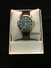 Seiko SNE102 Stainless Steel Solar Leather Strap Men's Watch
