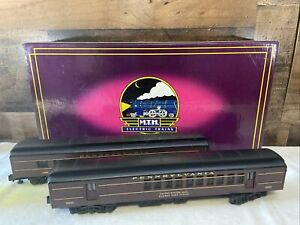 MTH Pennsylvania Tuscan Red  Sleeper/Diner Set MT-4106 3 Rail O Scale With Box