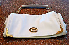 NWOT~ELIZABETH GRANT INC. LONDON ~WHITE LEATHER PURSE-HAND BAG~GOLD CHAIN
