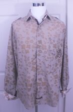 English Laundry Peoples Army Christopher Wicks Brown Floral Striped Shirt Sz XXL