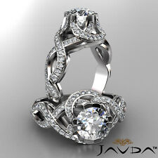 Designer Ring Gia F Vvs2 Platinum 2ct Round Pave Diamond Curve Shank Engagement