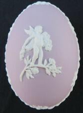 "Vintage Wedgwood Lilac Purple Jasperware 4"" Large Egg Shape Trinket Box"
