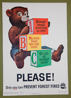 Vintage 1963 Smokey Bear A-B-C Please!Only You can prevent Forest Fires Poster