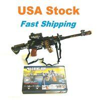 """Toy Gun Rifle, Machine Gun w Stand Scope Ammo Belt LED Light Sound, Kids, 25"""""""