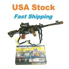 Toy Gun Rifle, Machine Gun w Stand Scope Ammo Belt LED Light Sound, Kids, 25