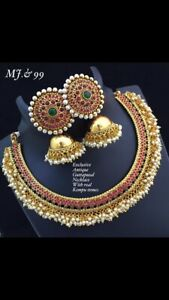 Indian Bollywood Micro Gold Plated Antique Bridal Necklace Set Women Jewelry Set
