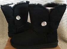 UGG Classic Short Bailey Button Bling Black Suede Fur Boots Size 7 Womens