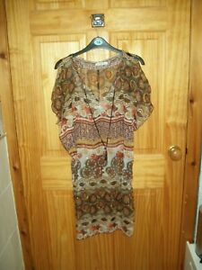 *** NEW BROWN MIX BEACH COVER UP/DRESS SIZE 12 ***