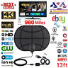 Indoor Digital TV Antenna Aerial Signal Amplified Thin HDTV HD Freeview 980 Mile
