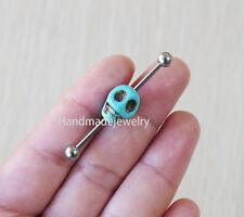 2pcs Turquoise Skull Industrial Barbell Body Jewelry Ear Jewelry Double Piercing