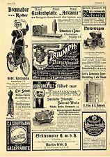 Brennabor Räder Triumph Fahrrad Werke Motorwagen Elektromotor Gas...Annoncen1899