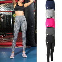 Womens Compression Pants Sports Yoga Tights Skinny Solid with Pocket High Waist