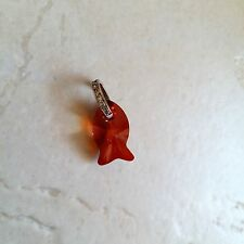 Swarovski Crystal 18 mm Red Magma Fish Pendant on Jewelled Sterling Silver Bail