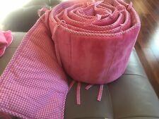 Euc Pottery Barn Baby Crib Chamois Pink Gingham Reversible Bumper