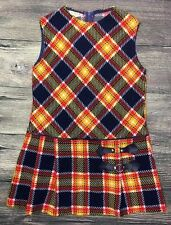 Vintage Mod Girls Plaid Go Go Dress Size 8 Blue Yellow Red 1960s 1970s Scooter