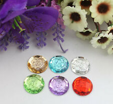 30pcs mixed colors flower acrylic rhinestone round cabochon 20mm #22195