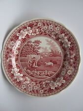 """Spode Archive Collection Georgian Series""""Milkmaid""""Red 10.5"""" Plate-England-UNUSED"""
