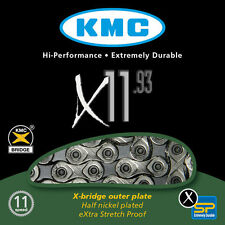 KMC X11-93 11 velocità strada o Mountain Bike Chain Shimano Sram NUOVO ARGENTO/NERO