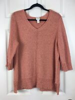CHICOS Size 3 (XL) Coral Orange Crochet Woven Pullover V-neck Sweater Tunic Top
