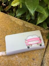 Kate Spade Checking In Pink Car Applique Lacey Leather Wallet w/ Dice Charm, NWT