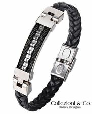 """Mens Stainless Steel Cable Black Leather Braid Weave Rope 8.5"""" Silver Bracelet"""